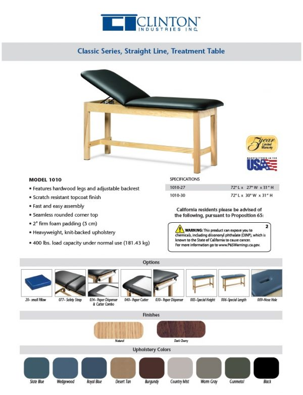 1010 1 600x782 - Treatment Table, Wood, Adjustable Backrest, H-Brace