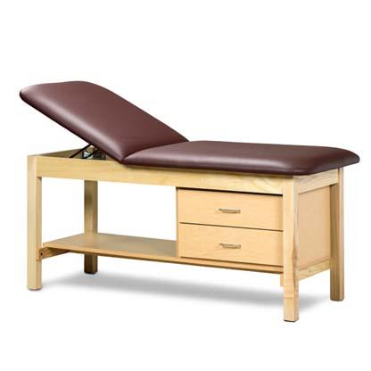 1013 27 - Treatment Table, Wood, Adjustable Backrest, Shelf, 2 Drawers