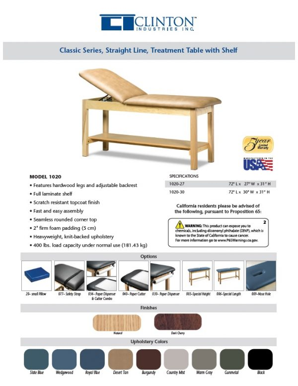 1020 1 600x776 - Treatment Table, Wood, Adjustable Backrest, Shelf