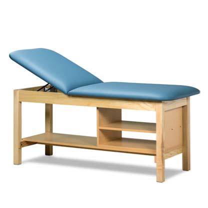"1030 30 - Treatment Table, Wood, Adjustable Backrest, Storage Shelves, 72""L x 31""H x 30""W"