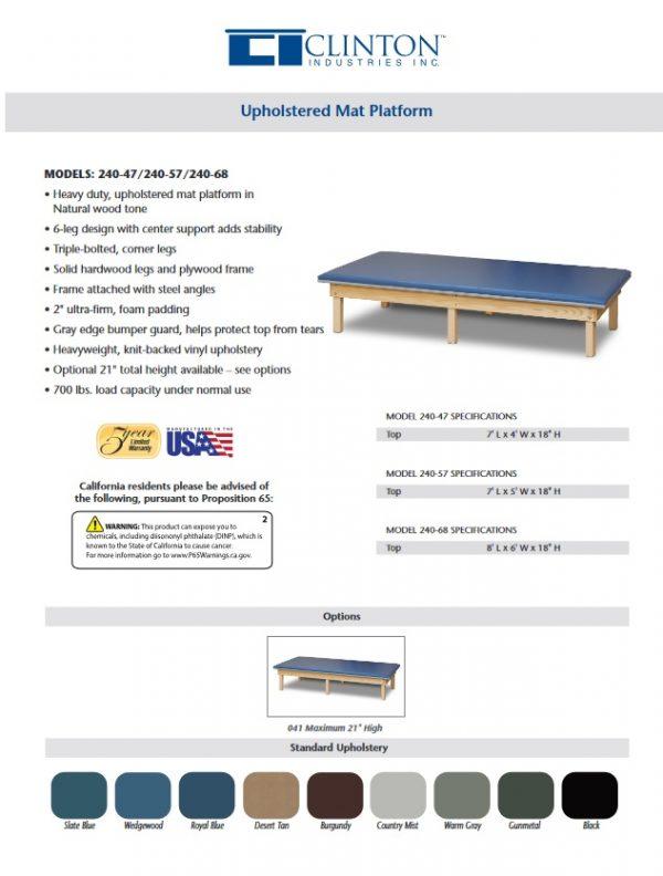 240 600x792 - Clinton Value Upholstered Top Mat Platform Table