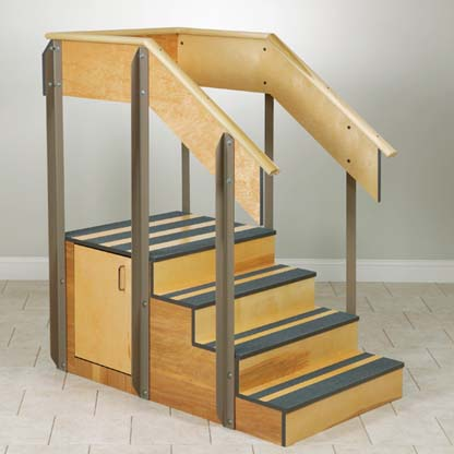 4 8010 - Staircase, Straight, Storage Cabinet, 4 Steps
