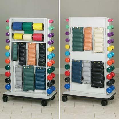 7019 - Mobile Rack, Holds 64 Cuffs, 22 Dumbbells, 6 Rolls of Bands