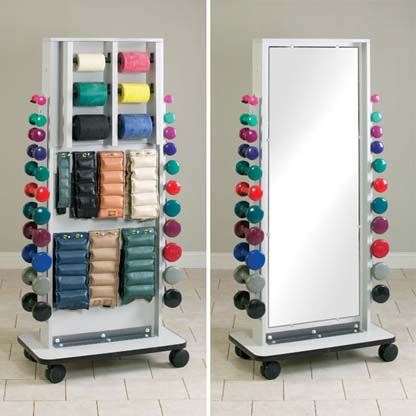 7121 - Combo Mirror/Cuff Weight, Band & Dumbbell Rack