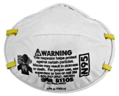 8110S 1 - N95 Face Masks, SMALL Size, 95% Particle Filtration, 20/Box