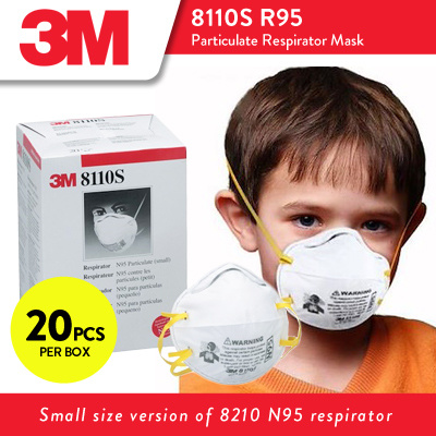 8110S 4 - N95 Face Masks, SMALL Size, 95% Particle Filtration, 20/Box