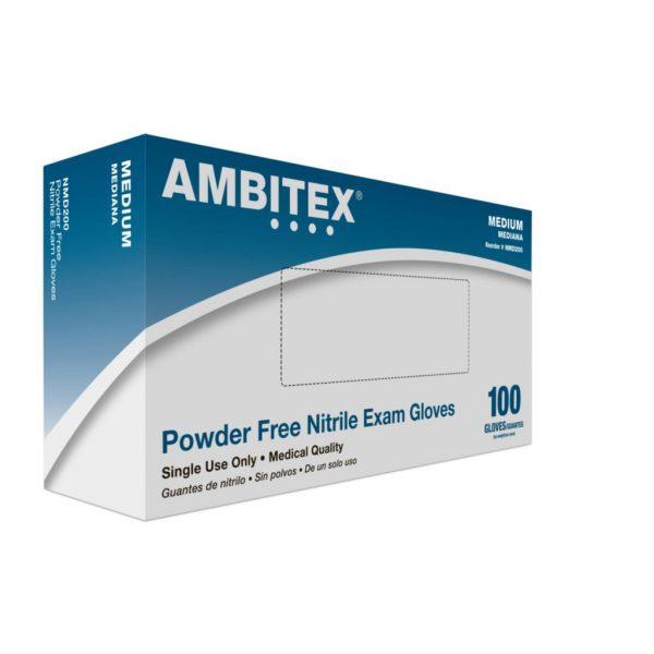 NMG 600x600 - Gloves, Nitrile, Powder Free, Latex Free, Medium, 100/Box (Ambitex)